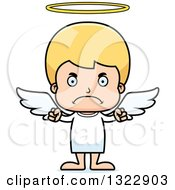 Clipart Of A Cartoon Mad Blond White Boy Angel Royalty Free Vector Illustration