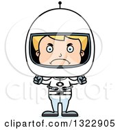 Clipart Of A Cartoon Mad Blond White Boy Astronaut Royalty Free Vector Illustration