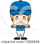 Clipart Of A Cartoon Mad Blond White Boy Baseball Player Royalty Free Vector Illustration