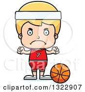Clipart Of A Cartoon Mad Blond White Boy Basketball Player Royalty Free Vector Illustration