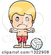 Clipart Of A Cartoon Mad Blond White Boy Beach Volleyball Player Royalty Free Vector Illustration