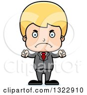 Clipart Of A Cartoon Mad Blond White Boy Businessman Royalty Free Vector Illustration