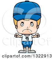 Clipart Of A Cartoon Mad Blond White Boy Sports Coach Royalty Free Vector Illustration