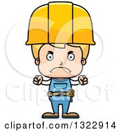 Cartoon Mad Blond White Boy Construction Worker