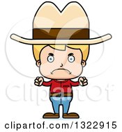 Clipart Of A Cartoon Mad Blond White Boy Cowboy Royalty Free Vector Illustration