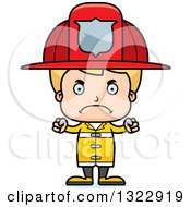 Clipart Of A Cartoon Mad Blond White Boy Firefighter Royalty Free Vector Illustration