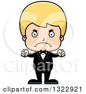 Clipart Of A Cartoon Mad Blond White Boy Groom Royalty Free Vector Illustration