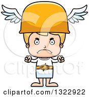 Clipart Of A Cartoon Mad Blond White Hermes Boy Boy Royalty Free Vector Illustration
