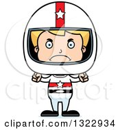 Clipart Of A Cartoon Mad Blond White Boy Race Car Driver Royalty Free Vector Illustration