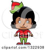 Clipart Of A Cartoon Happy Black Christmas Elf Girl Royalty Free Vector Illustration