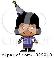 Clipart Of A Cartoon Happy Black Girl Wizard Royalty Free Vector Illustration