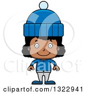 Clipart Of A Cartoon Happy Black Girl In Winter Clothes Royalty Free Vector Illustration