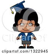 Clipart Of A Cartoon Happy Black Girl Professor Royalty Free Vector Illustration