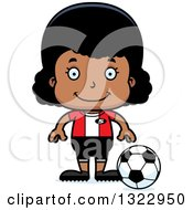 Clipart Of A Cartoon Happy Black Girl Soccer Player Royalty Free Vector Illustration