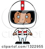 Clipart Of A Cartoon Happy Black Girl Race Car Driver Royalty Free Vector Illustration