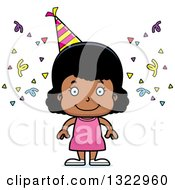 Clipart Of A Cartoon Happy Black Party Girl Royalty Free Vector Illustration
