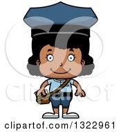 Clipart Of A Cartoon Happy Black Girl Mailman Royalty Free Vector Illustration