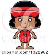 Clipart Of A Cartoon Happy Black Girl Lifeguard Royalty Free Vector Illustration