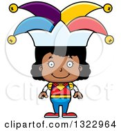 Clipart Of A Cartoon Happy Black Girl Jester Royalty Free Vector Illustration