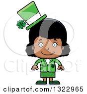 Clipart Of A Cartoon Happy Black St Patricks Day Girl Royalty Free Vector Illustration