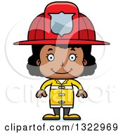 Clipart Of A Cartoon Happy Black Girl Firefighter Royalty Free Vector Illustration