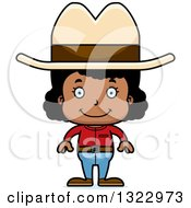Clipart Of A Cartoon Happy Black Cowgirl Royalty Free Vector Illustration by Cory Thoman
