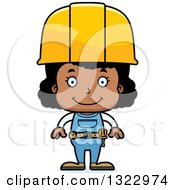 Cartoon Happy Black Girl Construction Worker