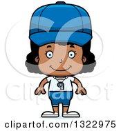Clipart Of A Cartoon Happy Black Girl Sports Coach Royalty Free Vector Illustration
