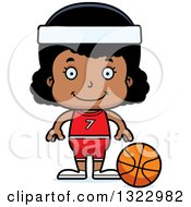 Clipart Of A Cartoon Happy Black Girl Basketball Player Royalty Free Vector Illustration