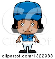 Clipart Of A Cartoon Happy Black Softball Baseball Player Girl Royalty Free Vector Illustration