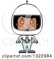 Clipart Of A Cartoon Happy Black Girl Astronaut Royalty Free Vector Illustration