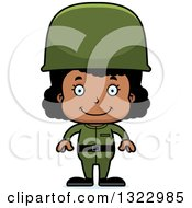 Clipart Of A Cartoon Happy Black Girl Soldier Royalty Free Vector Illustration