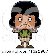 Clipart Of A Cartoon Mad Black Girl Hiker Royalty Free Vector Illustration