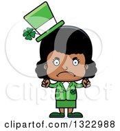 Clipart Of A Cartoon Mad Black St Patricks Day Girl Royalty Free Vector Illustration
