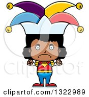 Clipart Of A Cartoon Mad Black Girl Jester Royalty Free Vector Illustration
