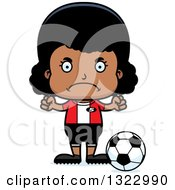 Clipart Of A Cartoon Mad Black Girl Soccer Player Royalty Free Vector Illustration