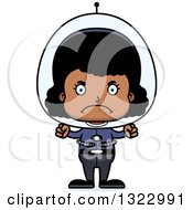 Clipart Of A Cartoon Mad Black Space Girl Royalty Free Vector Illustration