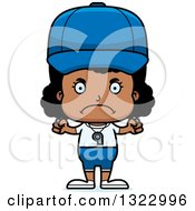 Clipart Of A Cartoon Mad Black Girl Sports Coach Royalty Free Vector Illustration