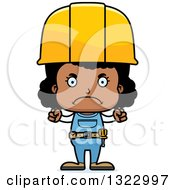 Cartoon Mad Black Girl Construction Worker