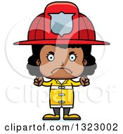 Clipart Of A Cartoon Mad Black Girl Firefighter Royalty Free Vector Illustration