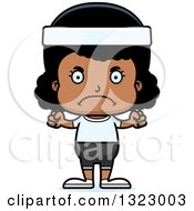 Clipart Of A Cartoon Mad Black Fitness Girl Royalty Free Vector Illustration