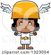 Clipart Of A Cartoon Mad Black Hermes Girl Royalty Free Vector Illustration