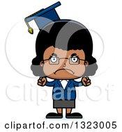 Clipart Of A Cartoon Mad Black Girl Professor Royalty Free Vector Illustration