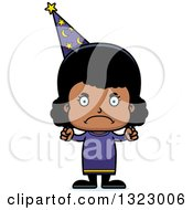 Clipart Of A Cartoon Mad Black Girl Wizard Royalty Free Vector Illustration