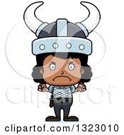 Clipart Of A Cartoon Mad Black Viking Girl Royalty Free Vector Illustration