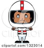 Clipart Of A Cartoon Mad Black Girl Race Car Driver Royalty Free Vector Illustration