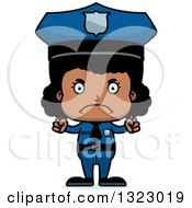Clipart Of A Cartoon Mad Black Girl Police Officer Royalty Free Vector Illustration