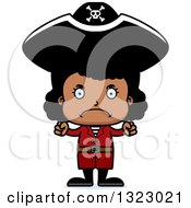 Clipart Of A Cartoon Mad Black Girl Pirate Royalty Free Vector Illustration