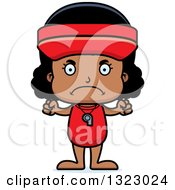 Clipart Of A Cartoon Mad Black Girl Lifeguard Royalty Free Vector Illustration