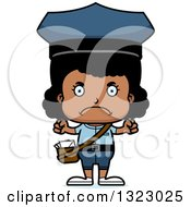 Clipart Of A Cartoon Mad Black Girl Mailman Royalty Free Vector Illustration